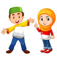muslim boy and girl in traditional costume vector image