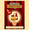 postcard poster with fast food tasty and vector image