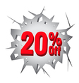 Sale 20 percent on Hole cracked white wall vector image