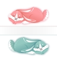 Sleeping cartoon rabbit Funny bunny Cute hare vector image