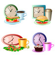 set of lunch break foods clocks and drinks vector image