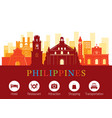 philippines landmarks skyline with accommodation vector image