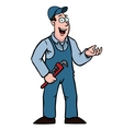 plumber with wrench showing something vector image vector image