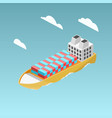 cargo ship with containers isometric vector image