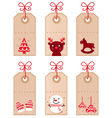 cute christmas retro tags vector image