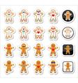Gingerbread man Christmas icons set vector image