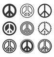 hippie peace signs set on white background vector image