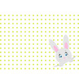 little toy rabbit on white background with dots vector image