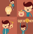 piggy bank concept money savings set vector image