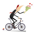 smiling man on the bike with a bunch of flowers is vector image