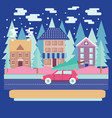 winter city landscape with firs in flat modern vector image