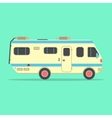 yellow travel camper van isolated on green vector image