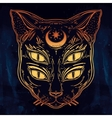 Black cat head portrait with moon and four eyes vector image