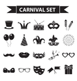 Carnival icon set black silhouette style Party vector image