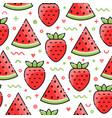 Watermelon strawberry seamless pattern vector image