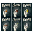 cheers lettering hand hold glass brandy tequila