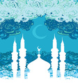 artistic pattern background with moon and mosque vector image