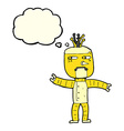 cartoon robot with thought bubble vector image