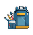 bag and school tools icon vector image