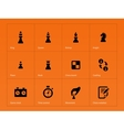 Chess Figures icons on orange background vector image