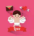 love cupid holding bow and arrow banner vector image