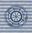 Nautical emblem with sea wheel vector image