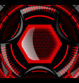 Round Futuristic Design With Black And Red Color vector image