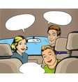 Family sitting in the car looking back vector image