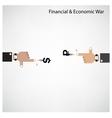 Businessman hand shooting financial or economic wa vector image
