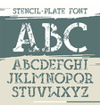 Slab serif stencil plate font vector image