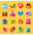 Celebration sticker set of colorful gift boxes vector image