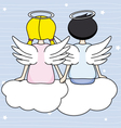 Angels sitting above the clouds vector image