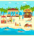 beach flat style vector image