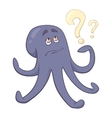 Cartoon octopus thinks Puzzled Octopussy Color vector image