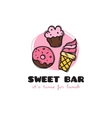 funny cartoon style sweets bar logo with vector image