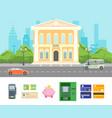 cartoon building bank on a city landscape vector image