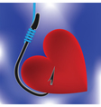 heart on fishing hook vector image vector image