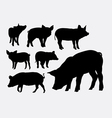 Pig animal silhouettes vector image