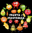 Different kind of fruits and vegetables vector image