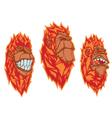Burning monkey heads Sticker concept vector image