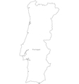 Black White Portugal Outline Map vector image