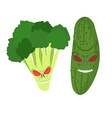 angry vegetables Wicked cucumber Ferocious vector image