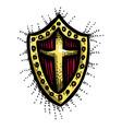 cartoon image of shield icon shield symbol vector image