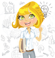 Girl inspiration idea on business background vector image