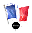 Watercolor France flag Hand drawn on white vector image