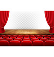 rows of red cinema or theater seats in front of vector image