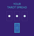 template for three tarot card spread reverse side vector image