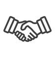 Business handshake line icon contract agreement vector image