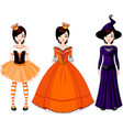 girl with dresses for halloween party vector image vector image