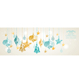 Vintage Christmas banner hanging balls composition vector image